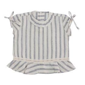 Blusa bebê peplum listras - Cinca e marfim