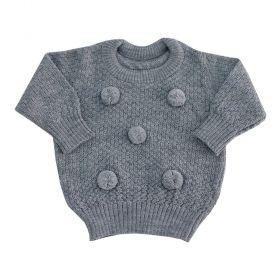 Blusa bebê pompom - Cinza