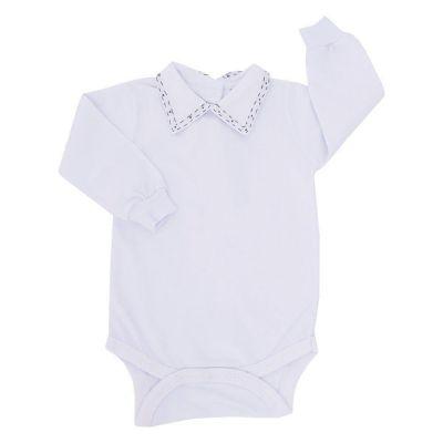 Body bebê alinhavos - Branco e azul marinho