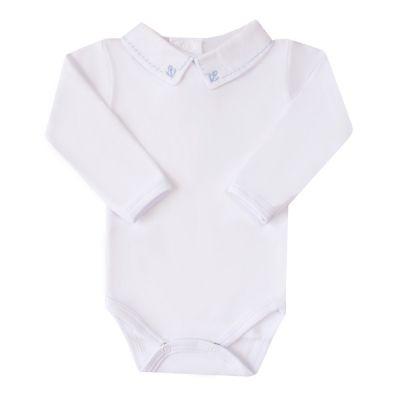 Body bebê âncora - Branco e azul bebê
