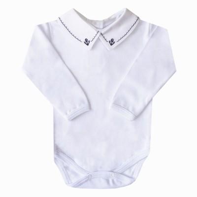 Body bebê âncora - Branco e azul marinho