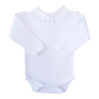 Body bebê avião - Branco e azul bebê