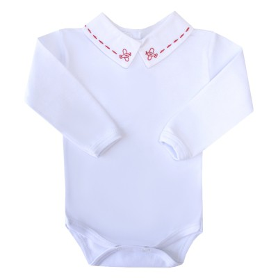 Body bebê avião - Branco e vermelho
