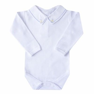 Body bebê barquinho - Branco, amarelo e azul