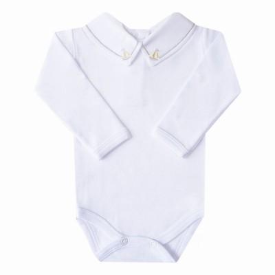 Body bebê barquinho - Branco, cinza e amarelo