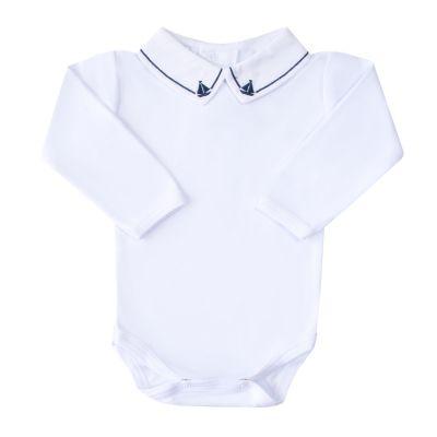 Body bebê barquinho - Branco e azul marinho