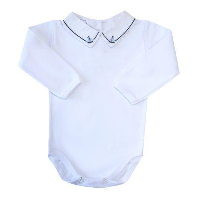 Body bebê barquinho e linha - Branco e azul marinho