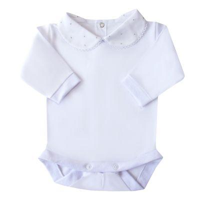 Body bebê bolinhas - Branco e cinza