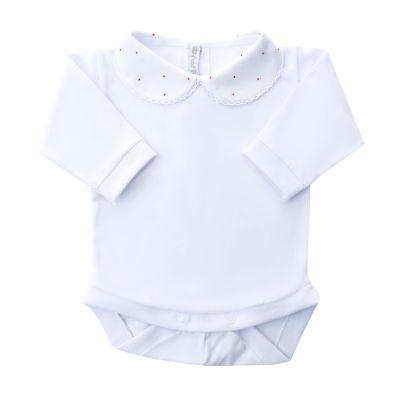 Body bebê bolinhas - Branco e vermelho