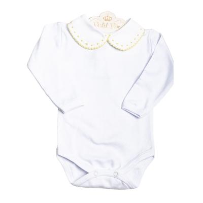 Body bebê bolinhas e rendinha - Branco e amarelo