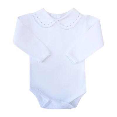 Body bebê bolinhas e rendinha - Branco e cinza