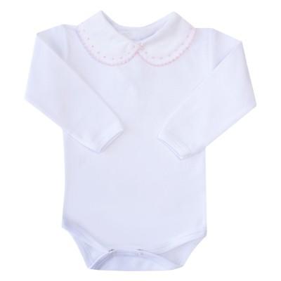 Body bebê bolinhas e rendinha - Branco e rosa