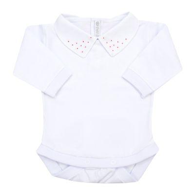 Body bebê bolinhas frontais - Branco e vermelho