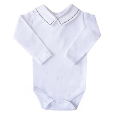 Body bebê bolinhas PP - Branco e grafite