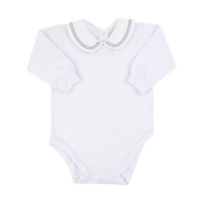Body bebê bordado - Branco e azul marinho