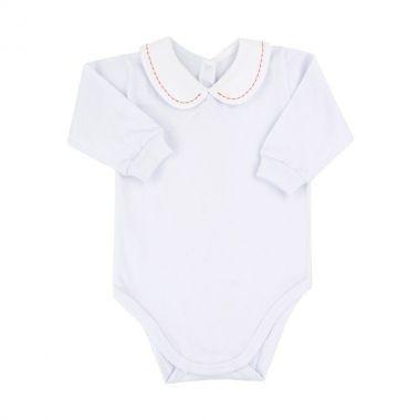 Body bebê bordado - Branco e vermelho