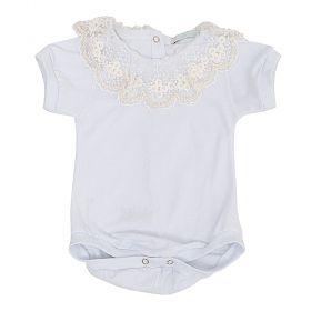 Body bebê bordado com pérolas - Branco