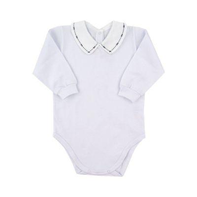 Body bebê - Branco e azul marinho