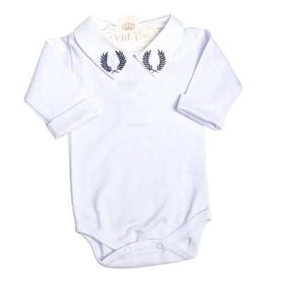 Body bebê brasão e punhos  - Branco e azul marinho