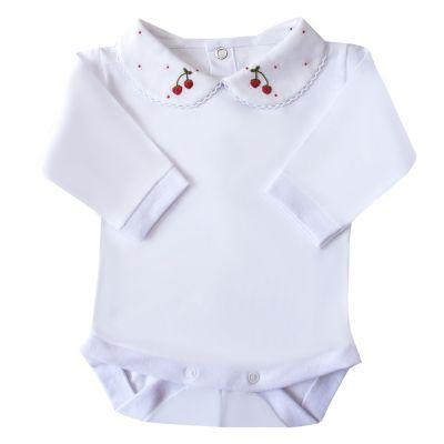 Body bebê cereja e poá - Branco e vermelho