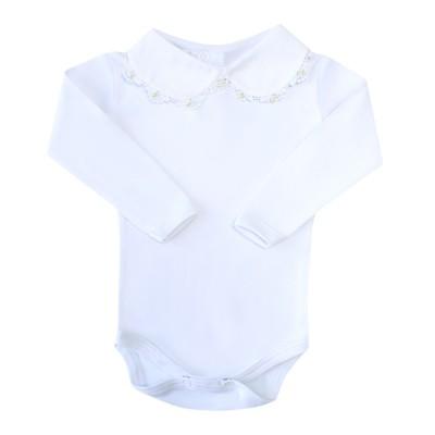 Body bebê com rendinha e pérolas - Branco