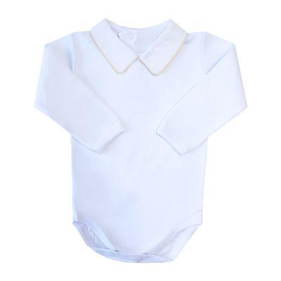 Body bebê com vivo - Branco e amarelo