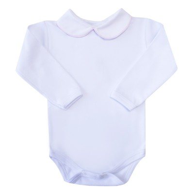 Body bebê com vivo - Branco e rosa