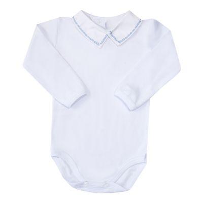 Body bebê corrente 2 cores - Branco e azul bebê