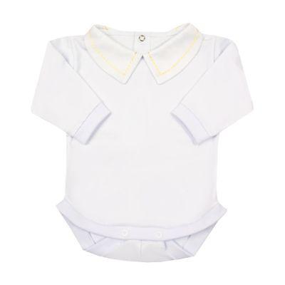 Body bebê corrente - Branco e amarelo