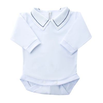 Body bebê corrente - Branco e azul marinho