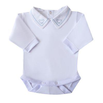 Body bebê corrente e ursinho - branco e azul bebê