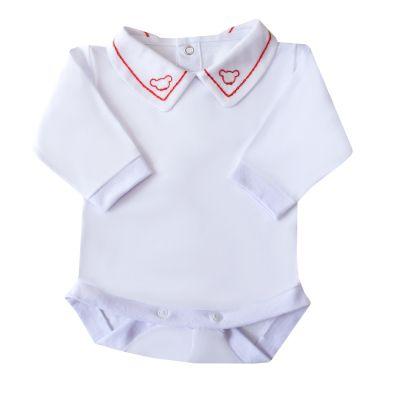 Body bebê corrente e ursinho - Branco e vermelho
