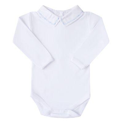 Body bebê corrente losango - Branco e azul bebê