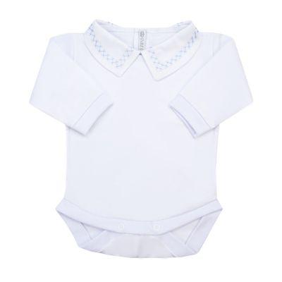 Body bebê corrente x - Branco e azul bebê