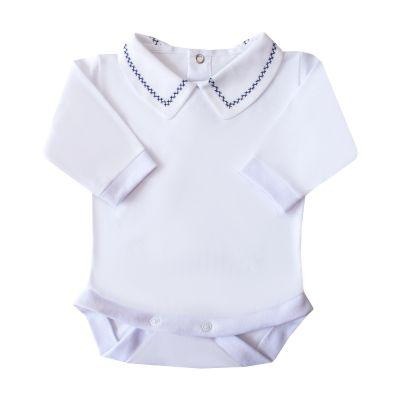 Body bebê corrente x pp - Branco e azul marinho
