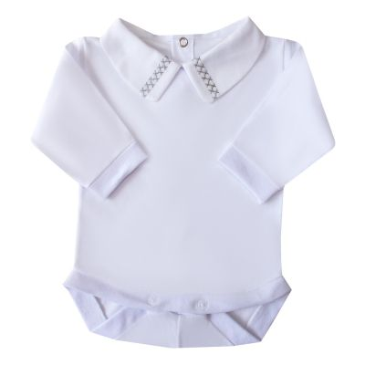 Body bebê duplo x - Branco e cinza