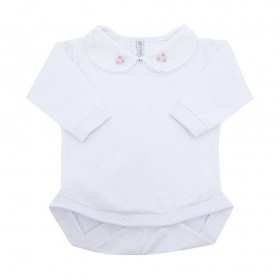 Body bebê feminino bordado - Branco e rosa