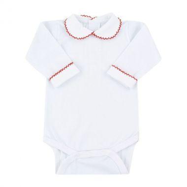 Body bebê feminino bordado - Branco e vermelho