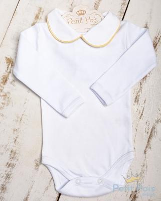 Body bebê feminino - Branco e amarelo bebê