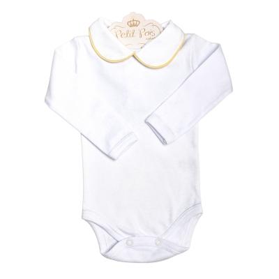 Body bebê  - Branco e amarelo bebê