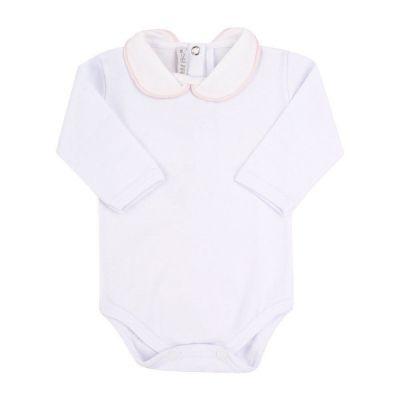 Body bebê feminino - Branco e rosa pó