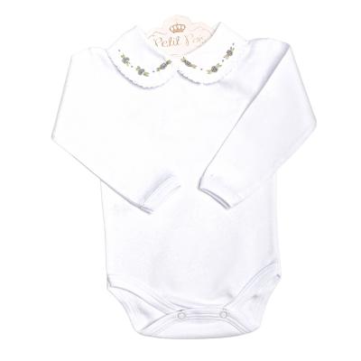 Body bebê flor - Branco e cinza