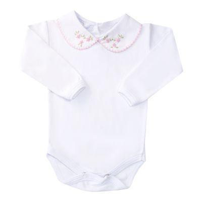 Body bebê flor - Branco e rosa