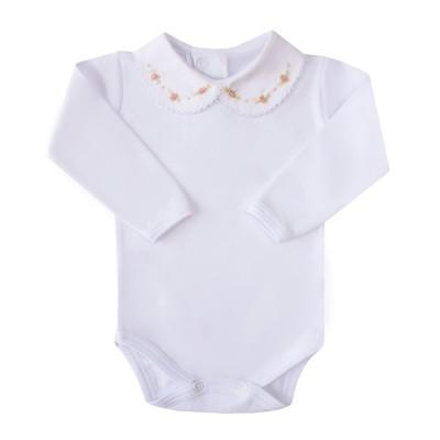 Body bebê flor - Branco e rosê