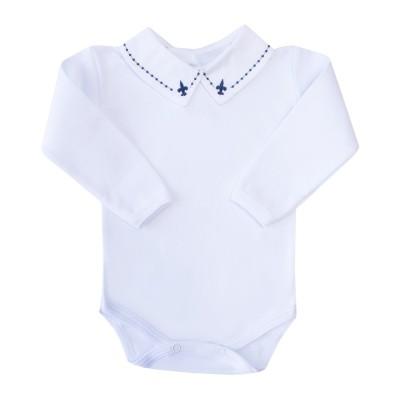 Body bebê flor de lis e bolinha - Branco e azul marinho
