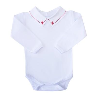 Body bebê flor de lis e bolinha - Branco e vermelho