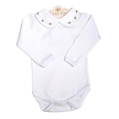 Body bebê flor e pérola - Branco e cinza