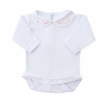 Body bebê flor e pérola - Branco e rosa