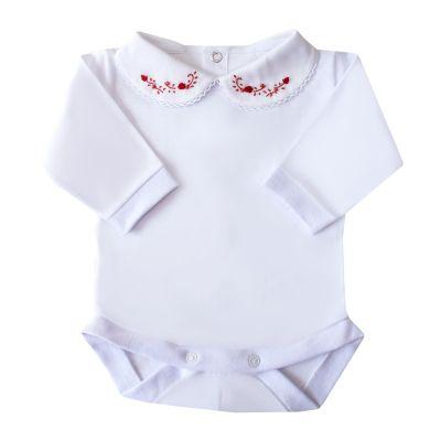 Body bebê flor e pérola - Branco e vermelho