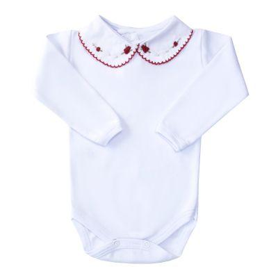 Body bebê flor e pérolas - Branco e vermelho